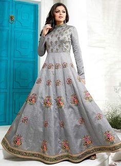 Grey Art Silk Embroidered Anarkali Suit