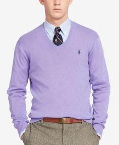 Pima V-Neck Sweater, Spanish Purple