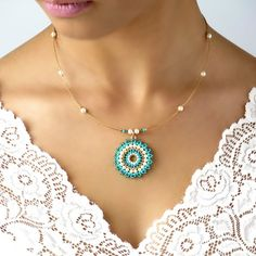 Turquoise and pearl mandala pendant necklace, Turquoise & gold necklace, Seed bead necklace, Handmade beaded necklace, Gift ideas for women Turquoise pendant necklace Turquoise & gold necklace Seed Collier Turquoise, Turquoise Pendant, Turquoise Earrings, Seed Bead Necklace, Beaded Necklace, Pendant Necklace, Gold Necklace, Seed Beads, Necklace Ideas