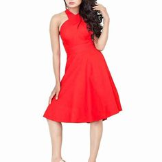 Deep Scarlet Cotton Western Dress