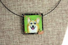 """Corgi Hand-Illustrated Pendant – """"Happy"""" Just a sweet and 'happy' soul. Corgi's are funny little dogs with short legs and big personalities! Get this one-of-a-kind hand-illustrated pendant for you or someone you love. It's a colored pencil drawing on copper--a special process."""