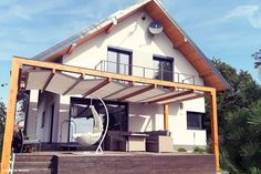 Projekt domu Dom w idaredach Realizacje - ARCHON+ Home Fashion, Pergola, Cabin, Bedroom, Architecture, House Styles, Outdoor Decor, Plants, Inspiration