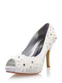 Elegant Lace Flowers Bridal Ivory Wedding Shoes img