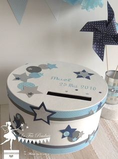 SUR COMMANDE-Urne ESSENTIELLE Etoiles marine bleu gris blanc Gift Card Boxes, Gift Table, Geometric Shapes, Baby Shower, Gifts, Craft, Design, Presents, Party