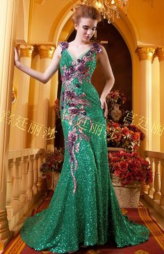 2014 New Luxurious Sequin lace Evening dress embroidery mermaid formal dress V-neck party dress backless bridal gown fish tail