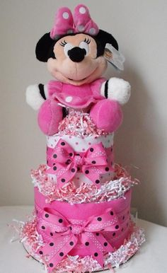 minnie mouse diaper cake | Tier Minnie Mouse Diaper Cake by ilovepattycakes on Etsy