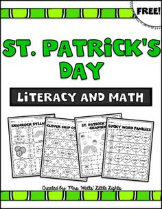 FREE! St. Patricks Day Literacy and Math Printable Pack. Happy St. Patrick's Day!