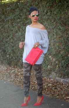 Loving the red and camo combo :) youngatstyle.com
