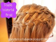 Adventures of a DIY Mom: Mini Hair Series - Double Waterfall Braid Braided Hairstyles Tutorials, Diy Hairstyles, Pretty Hairstyles, Braid Tutorials, Hairstyles Videos, Double Waterfall Braids, Waterfall Braid Tutorial, Beautiful Braids, Gorgeous Hair