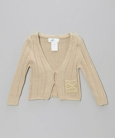 $20. Take a look at this Tan Lace Pocket Cardigan - Toddler by Right Bank Babies on #zulily today!