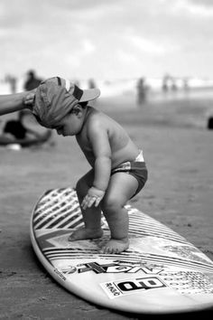 This dude looks cooler than cool #surf #surfboard #cute #baby #beach #babyonboard