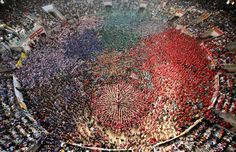"""Castellers Colla Vella Xiquets de Valls form a human tower called """"castell"""" during a biannual competition in Tarragona city October 5, 2014"""