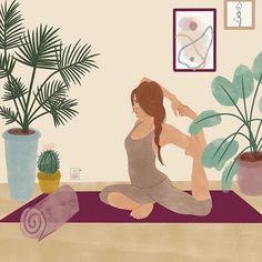 girl in mermaid pose, illustration, yoga practice at home Illustration Art Drawing, Art Drawings, Illustrations, Yoga Art, Aesthetic Art, Cute Art, Art Inspo, Art Girl, Watercolor Art