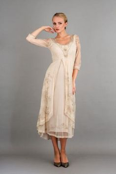 Before the autumn leaves fade and fall, you must wear this gorgeous gown. The Downton Abbey Tea Party Gown in Pearl will definitely turn heads