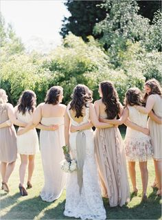 bridesmaid dresses in shades of cream