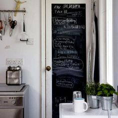 love the small chalkboard wall in the kitchen for grocery lists