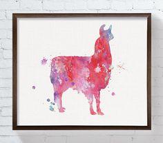 LLama Art Print, Watercolor Llama, Llama Painting, Llama poster, Home Decor, Kids Room Decor, Childrens Room Decor, Nursery Wall Art