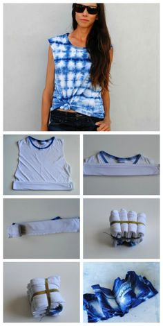 4 Techniques to Shibori Tie Dye Your T-Shirt These 4 Shibori Tie Dye Techniques for t-shirts are unique and easy to customize. Create fun looks with the Nui, Komasu, and boshi shibori techniques. How To Tie Dye, Tie And Dye, How To Dye Fabric, Diy Tie Dye Shirts, Diy Shirt, Bleach Shirt Diy, Diy Tank, Tie Dye Folding Techniques, Shibori Techniques