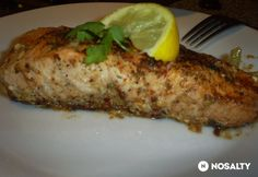 Citromos sült lazac   NOSALTY Salmon Recipes, Steak, Pork, Chicken, Cilantro, Kale Stir Fry, Steaks, Pork Chops, Cubs