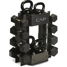 The CAP Barbell Dumbbell and Kettlebell Storage Rack is constructed of steel and has a maximum weight capacity of 225 lb.