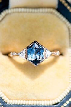This Moissanite engagement ring Vintage Unique diamond Cluster is just one of the custom, handmade pieces you'll find in our engagement rings shops. Vintage Engagement Rings, Vintage Rings, Vintage Jewelry, Sapphire Engagement Rings, Hexagon Engagement Ring, Solitaire Engagement, Non Traditional Engagement Rings Vintage, Engagement Images, Engagement Jewelry