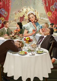 """""""I'm a waitress and I worry about the customers of the restaurant where I work! - Board """"Art-Russian Pin Up"""". - Illustration by Natalia Ershova. Pin Up Illustration, Portrait Illustration, Girl Illustrations, Pinup Art, Pin Up Kunst, Vintage Posters, Vintage Art, Vintage Pins, Capas Samsung"""