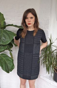 Black and White Grid Shift Linen Dress  Handmade by kertis on Etsy