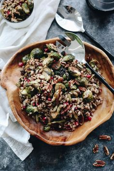 A healthy recipe for fall, this Roasted Brussels Sprouts Farro Salad makes the perfect weeknight side dish or main or Thanksgiving standout dish.