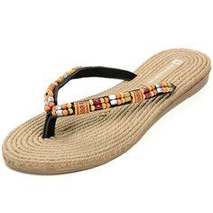 91a3b9dd5e6 Alpine Swiss Womens Bohemian Padded Comfort Flip Flop Thong Sandals      Additional details at