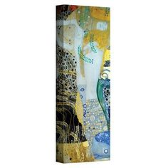 "ArtWall ''Water Serpents Blonde'' by Gustav Klimt Painting Print on Canvas Size: 10"" H x 24"" W"
