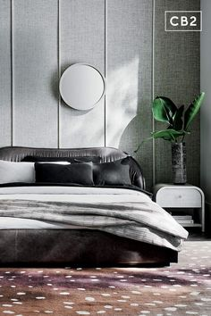 Brett Beldock has designed an upholstered leather bed that is as stunning to look at as it is comfortable to lounge on. Buttery grey leather has a ruched look, lending the whole thing a relaxing vibe that still manages to be sophisticated and high-design. Learn about Brett Beldock on our blog. CB2 exclusive. Leather Bed, Grey Leather, Modern Bedroom, Master Bedroom, Cushion Headboard, Bed Reviews, Higher Design, Eclectic Style, Queen Beds