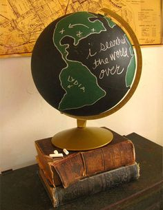 This would make a great centerpiece for a coffee table.  I own a globe in a 3ft tall stand which I want to shorten and put on my coffee table. It's a textured globe, so I'm unsure whether the chalkboard paint would work as nicely, but it's worth the try.  This is so fun.