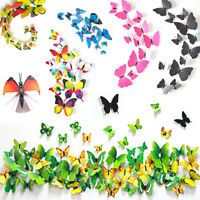 18/12PCS 3D Crystal Butterfly DIY Home Decor PVC Colorflul Wall Stickers Decals
