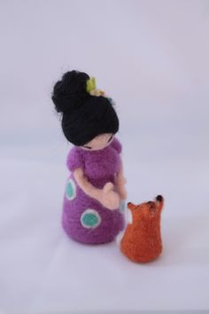 needle felted  asian girl with little fox