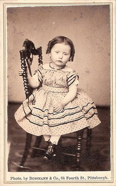 my-ear-trumpet:    poisoned-apple:    CDV ~ Mary Carter (via johncurtisrea)Mary Lumley Carter.Aged 2 yrs. & 9 mos.Photo taken during the civil war era.Photographed by Bussman & Company, 64 Fourth St., Pittsburgh.