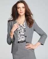 "Petite Tropical Wool 3/4 Sleeve Jacket - Crafted in our favorite all-season fabric, this quintessential piece is an indispensable part of any wear-to-work wardrobe. Notch lapel. Button front. Long sleeves with functional sleeve buttons for added styling options. Front welt pockets. Back vent. Lined. 20"" long."