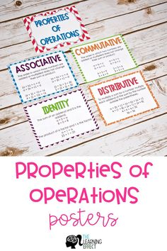 Brightly colored posters of Properties of Operations. Includes commutative, associative, distributive, and identity. Algebraic Properties, Number Properties, Properties Of Multiplication, Teaching Multiplication, Maths, Student Teaching, Teaching Tips, Third Grade Math, Grade 3