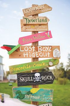 neverland wooden sign post