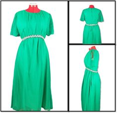 Green Chiffon Dress - 1970s Vintage by SoshalFashon on Etsy