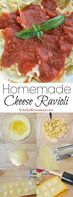 Homemade Cheese Ravioli in an hour | Easy homemade pasta dough pillows filled with a delicious herbed cheese mixture. Yum! #recipe
