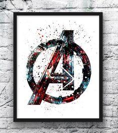 Avengers Watercolor Print, Avengers Logo, Thor, Hulk, Captain America, Superhero Posters, Comic, Wall Art, Home Decor, Kids Room Decor - 318