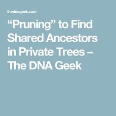 """""""Pruning"""" to Find Shared Ancestors in Private Trees – The DNA Geek"""
