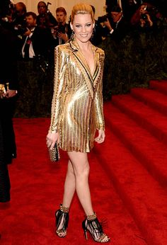 Elizabeth Banks in Versace Met Gala 2013 - I suppose this is the longer suit dress that i wanted to make, hate the color and cloth, but nice to see i've got the idea right