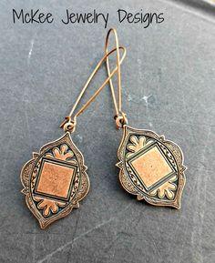 Copper dangle earrings. Copper Arabian Style Medallions with kidney ear wire. Copper jewelry, simple, lightweight earrings.