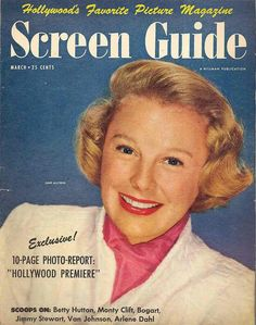 """June Allyson on the cover of """"Screen Guide"""" magazine, USA, March 1950."""