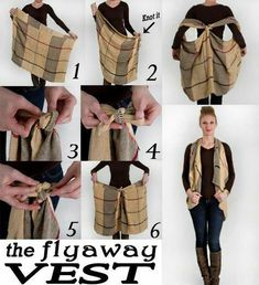 Do with my horse scarf! How to Turn a Scarf Into a Vest. We posted a DIY video on how to turn a scarf into a vest in under a minute and our friends decided to try it out.This DIY blanket scarf project is so easy that any non-crafter can make it. How To Wear A Blanket Scarf, Scarf Vest, Ways To Wear A Scarf, How To Wear Scarves, Plaid Blanket, Blanket Scarf Outfit, Tie Scarves, Scarf Tying Blanket, Scarf Top