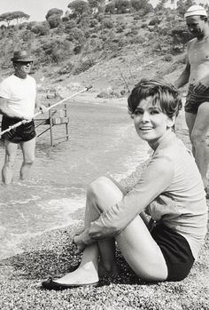 Audrey Hepburn photographed on the set of Two for the Road in 1966