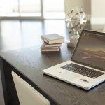 open laptop computer on desk