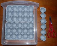 Use egg cartons to organize your jewelry, like earrings. (She covers these in fabric.)