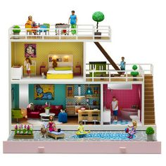 The Stockholm Doll House is a deluxe example of a modern dream house, in miniature format 1:18 scale. This is the kind of house you would love to live in, maybe on a cliff in Malibu. The attention to detail is astounding. The wooden loungers are lovingly precise, you can actually recline them at different angles! The oven lights up and the door opens. The corn on the cob feels different to the slabs of steak and the couches are sumptuously comfy! Plus you can pick and chose int…